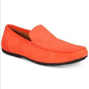 NWT Alfani Orange Mens textured Driver shoe